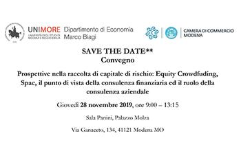 """Convegno """"Prospettive nella raccolta di capitale di rischio: Equity Crowdfunding, Spac, il punto di vista della consulenza finanziaria ed il ruolo della consulenza aziendale"""""""