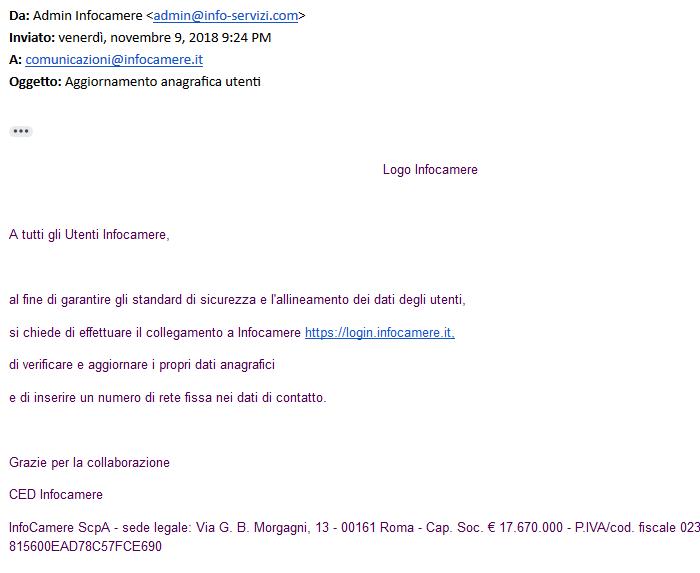 Email alle imprese da un falso account di Infocamere