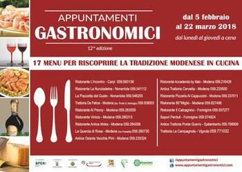 Al via gli Appuntamenti Gastronomici 2018