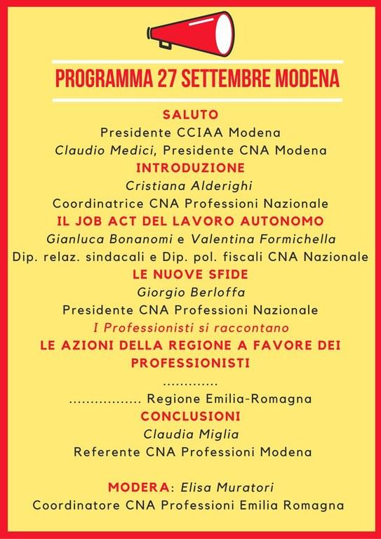 CNA Professioni Modena 27 sett. programma