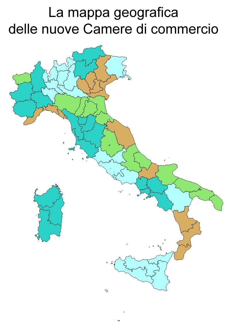 La mappa geografica delle nuove Camere di commercio