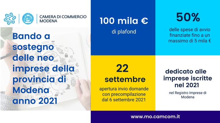 Bando a sostegno delle neo imprese della provincia di Modena - anno 2021