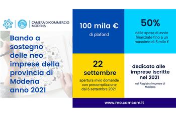 Approvato il bando della CCIAA di Modena da 100.000 € a sostegno delle neo-imprese modenesi