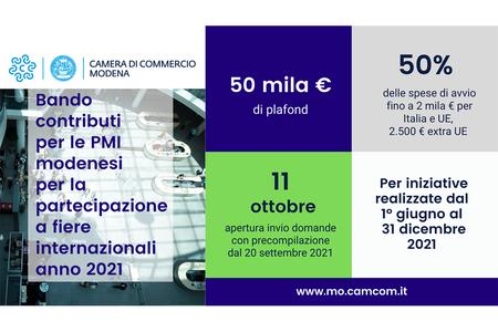 Bando 2021 per l'assegnazione di contributi alle PMI modenesi per la partecipazione a fiere internazionali