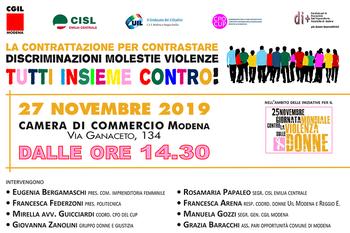La contrattazione per contrastare discriminazioni molestie violenze TUTTI INSIEME CONTRO!
