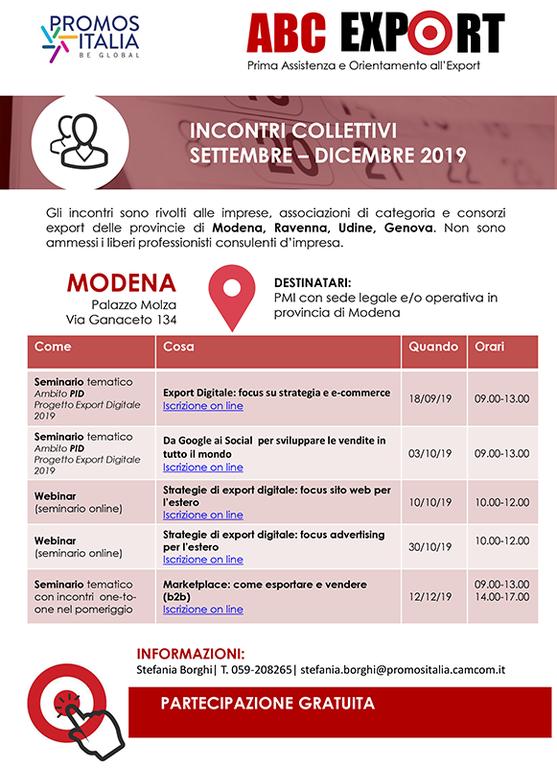 Promos Italia - ABC Export: Incontri collettivi Settembre-Dicembre 2019