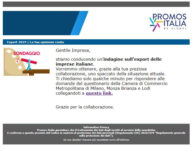 Promos Italia sta effettuando un sondaggio sull'export delle imprese italiane